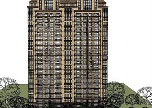 某新古典高层住宅建筑设计su(草图大师)精模图片