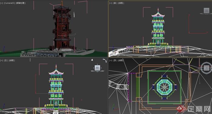 古典中式多层宝塔建筑设计3dmax模型(jpg效果图)(3)