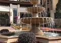喷泉水池景观,矮墙,种植池,花卉植物,住宅景观