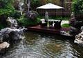 喷泉水池景观,景石,木平台,阳伞,桌椅,灌木丛,住宅景观