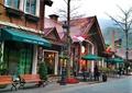 步行街,商业街,座椅,路灯,遮雨棚,遮阳伞