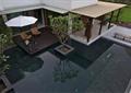 景观水池,遮阳伞,廊架,坐凳,庭院
