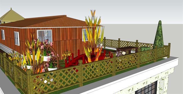 酒店入口及屋顶花园景观设计su模型