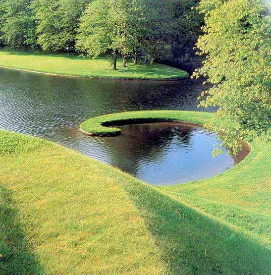 勘察草坪景观图-实景景观微乔木草坪水塘公路如何绘制地形绿化平面图图片