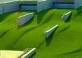 草坪景观,微地形草坪,挡墙