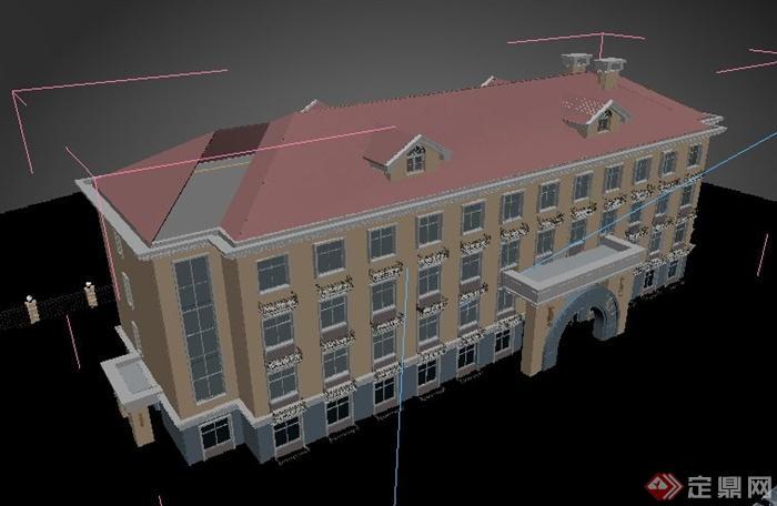 欧式学校综合楼教学楼建筑设计3dmax模型(4)