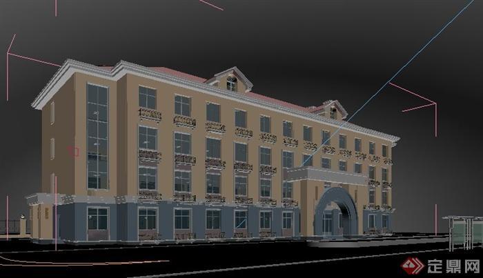 欧式学校综合楼教学楼建筑设计3dmax模型[原创]
