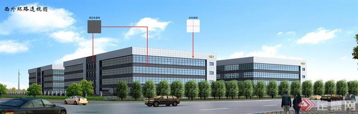 厂房建筑设计cad总图与jpg效果图[原创]