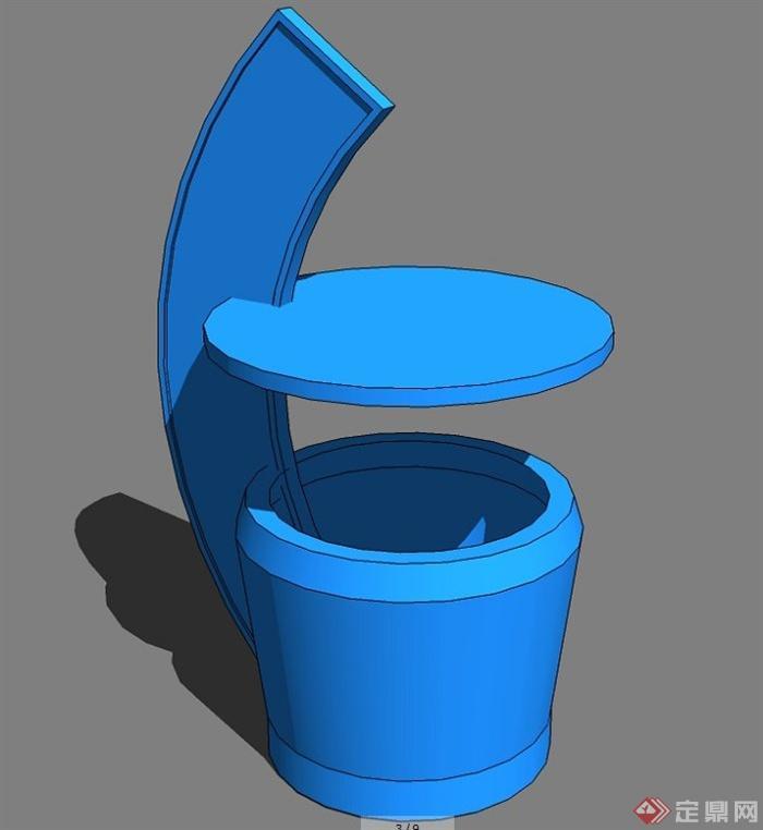 9款不同风格的垃圾桶设计su模型[原创]