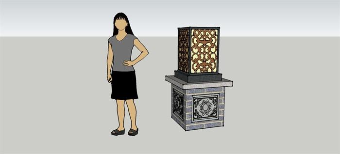 中式庭院灯柱su模型,精美的雕花灯柱,制作细致,附带材质贴图,可以