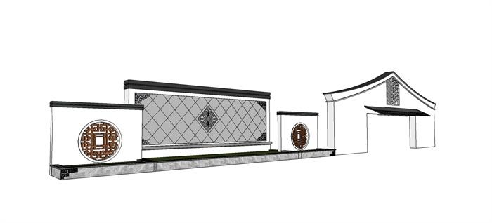 新中式园林景观节点景墙设计su模型(2)