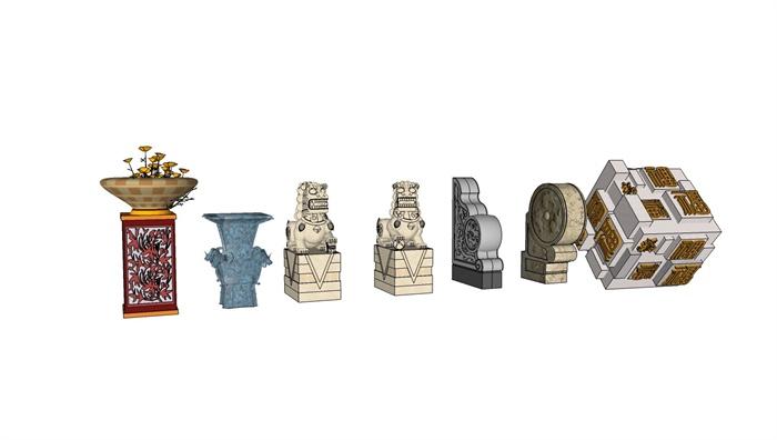 7款景观雕塑设计su模型[原创]