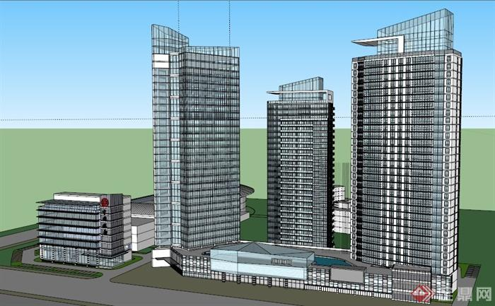 现代沿街商业办公楼建筑设计su模型(2)