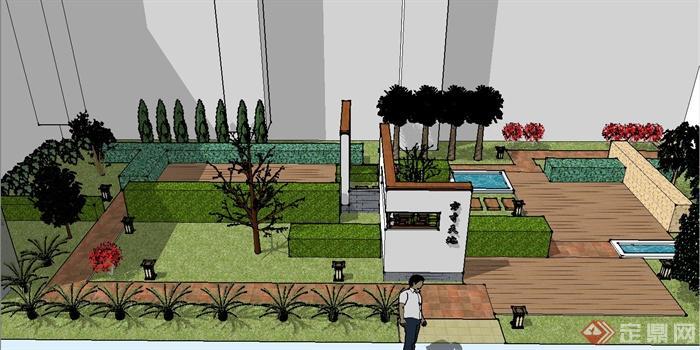 现代某别墅内庭景观设计su模型[原创]