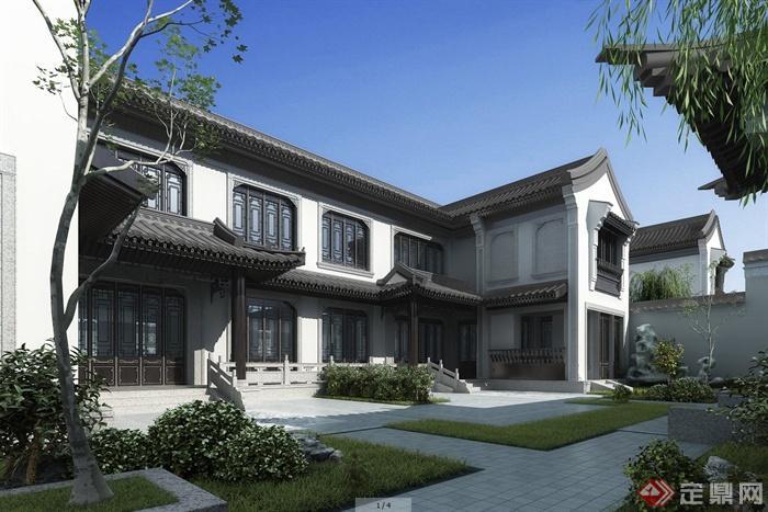 设计图分享 多层四合院别墅设计图  经典农村三合院别墅设计图,新中式图片