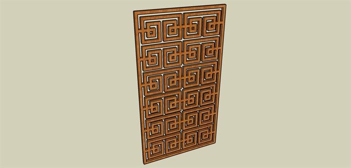 中式木制矩形窗户su模型[原创]