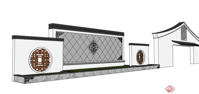 新中式园林景观节点景墙设计su模型[原创]