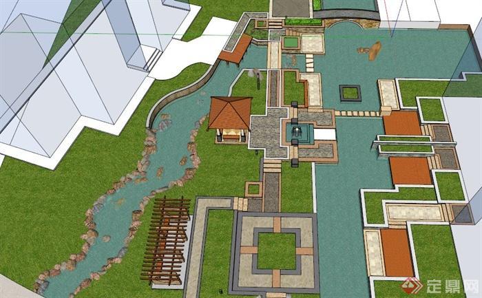 简欧风格居住小区景观设计su模型,整体设计比较细致,包括凉亭、廊架、水池、景石、园桥等节点模型素材,材质贴图完整,具有一定参考价值。