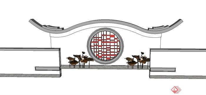 园林景观节点中式景墙照壁设计su模型(1)