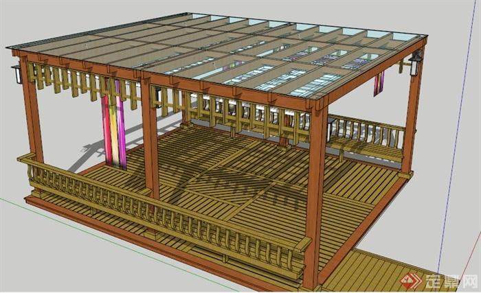 新中式玻璃木制凉亭su模型