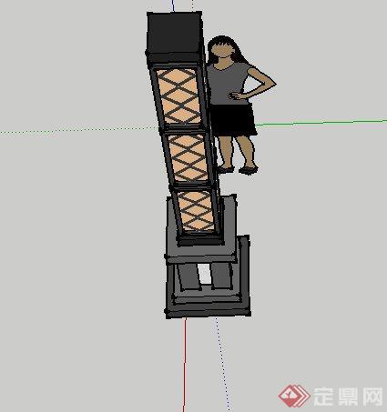 某新中式网状灯柱设计su模型[原创]