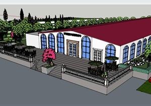 某欧式婚礼文化中心建筑设计SU(草图大师)模型