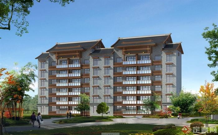 多层住宅建筑效果图及户型图