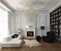 书架,水晶吊灯,沙发,地毯,地面铺装,壁炉,装饰摆件,客厅