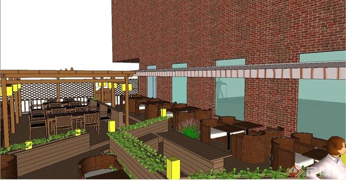 咖啡厅户外景观设计su模型(2)