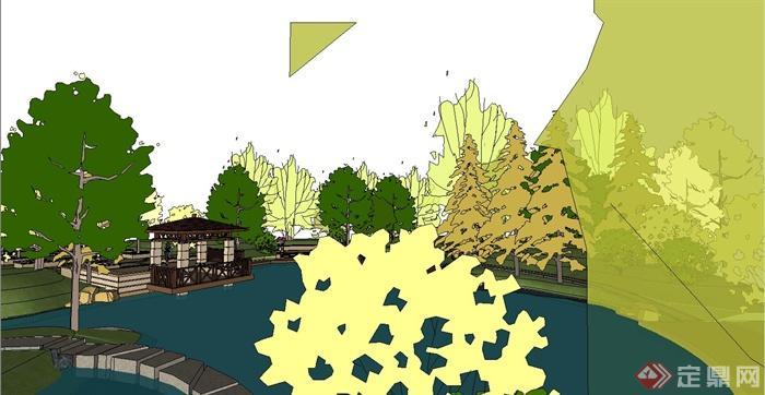 某城市小游园景观规划设计su模型(1)