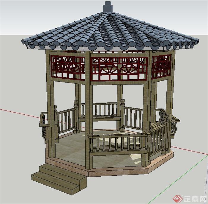 园林景观节点古典中式圆形亭子设计su模型(1)