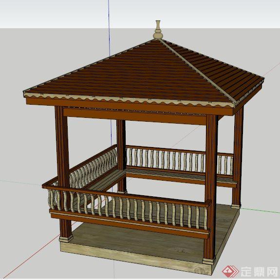 现代中式四角方亭设计su模型图片