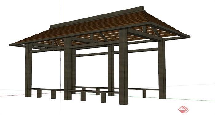 现代新中式木制长廊架设计su模型(3)