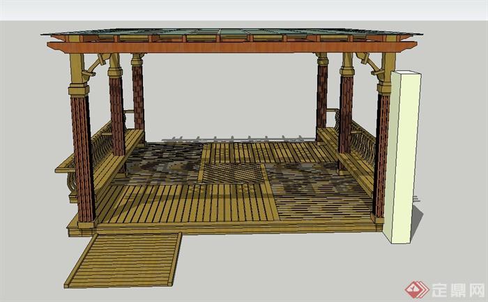 园林景观节点四角玻璃廊架设计su模型