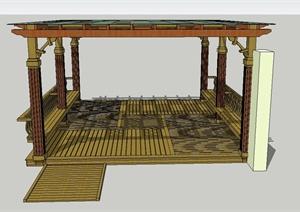 园林景观节点四角玻璃廊架设计SU(草图大师)模型