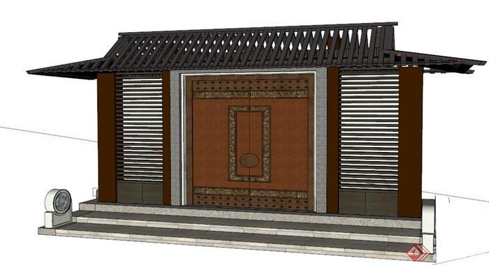 中式风格古建筑大门设计su模型
