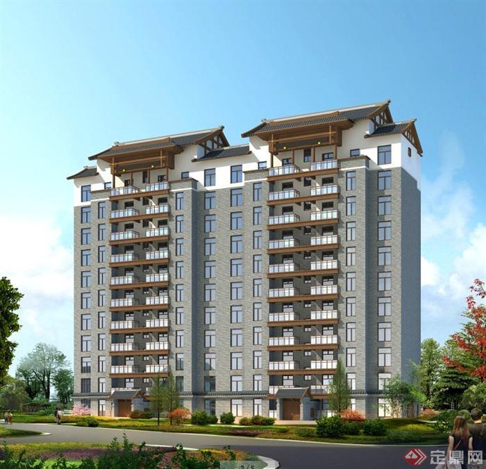某中式风格高层住宅小区建筑规划设计jpg图[原创]图片