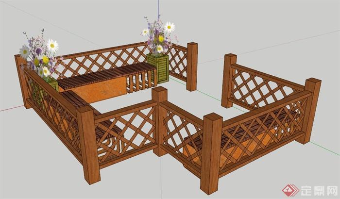 现代中式木制围栏及坐凳su模型