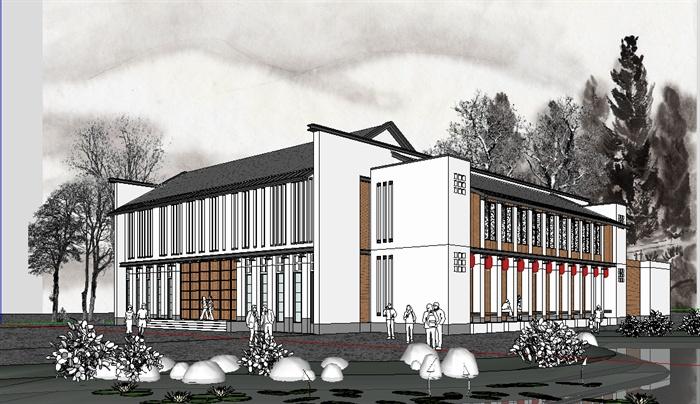 现代中式风格戏院文化建筑设计su模型图片