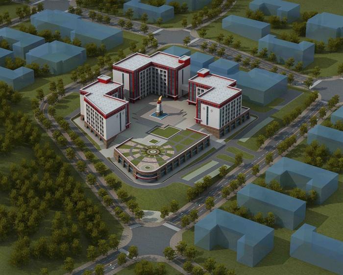 藏式风格学校建筑设计设计图(含效果图,3d图)[原创]图片