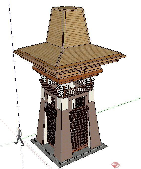 东南亚风情塔楼设计su模型[原创]