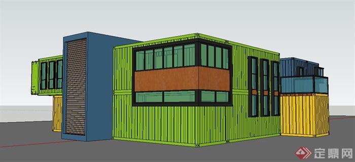 某现代两层集装箱办公楼建筑设计su模型(2)