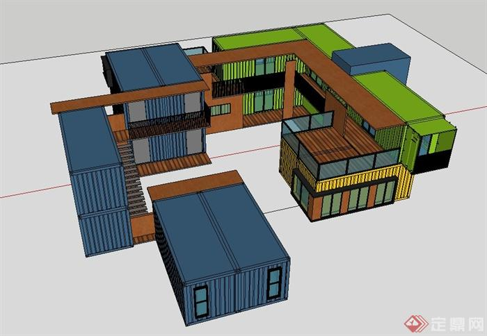 某现代两层集装箱办公楼建筑设计su模型(3)