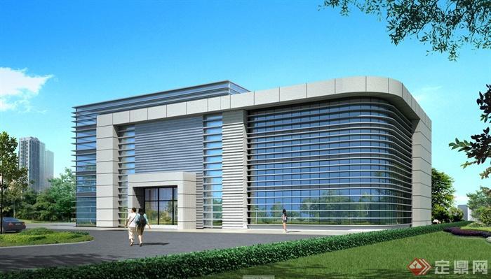 办公楼建筑设计CAD方案图与JPG效果图[村史馆设计图图片