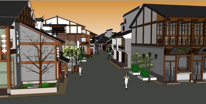 现代新中式风格商业街建筑su模型[原创]
