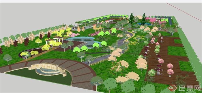 某现代游园景观规划设计方案图(含cad,psd,su,植物种植设计表)[原创]