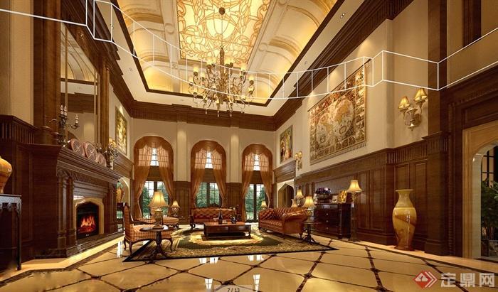 13张古典欧式别墅建筑及室内效果图