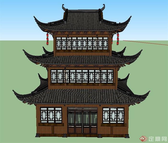 古典中式三层文化建筑设计su模型[原创]