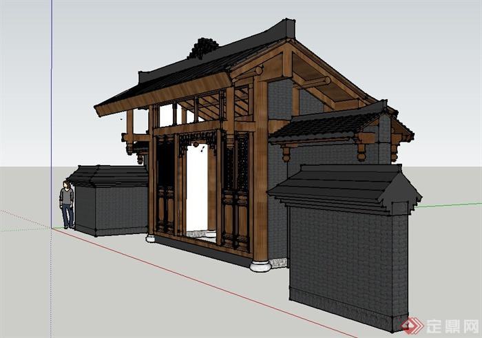 古典中式建筑入口木门设计su模型(2)图片