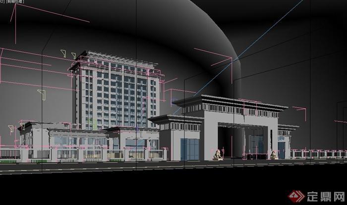 现代某办公楼大门门卫设计3dmax模型[原创]
